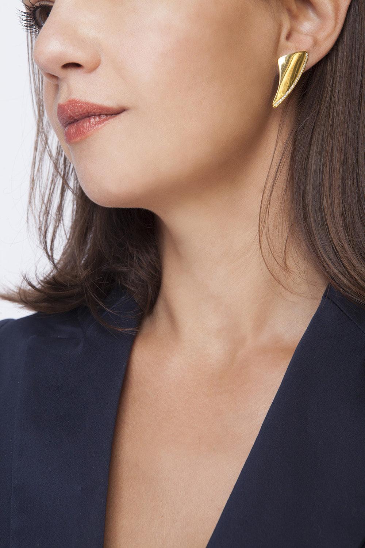 silver earrings 925, with white zircons gold plated 24K - ασημένια σκουλαρίκια 925, με λεύκα zircons, επιμεταλλωμένο με κίτρινο χρυσό 24K